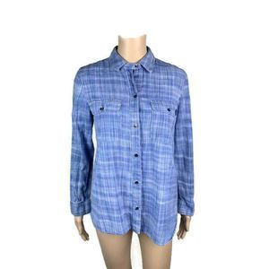 Madewell Shirt Plaid Button Pockets Blue Pink